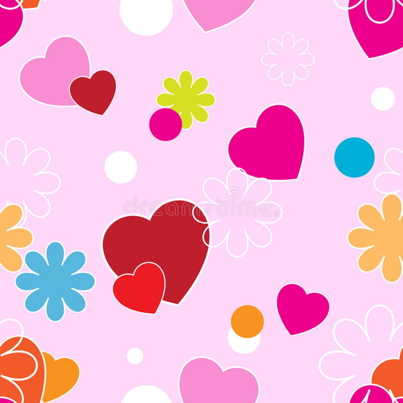 Hearts and flowers on a pink background stock illustration