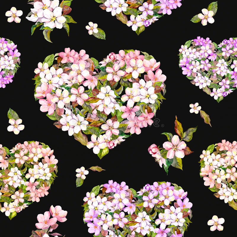 Hearts with flowers for Valentine day. Vintage floral blossom sakura. Watercolor seamless pattern at black background royalty free stock photo