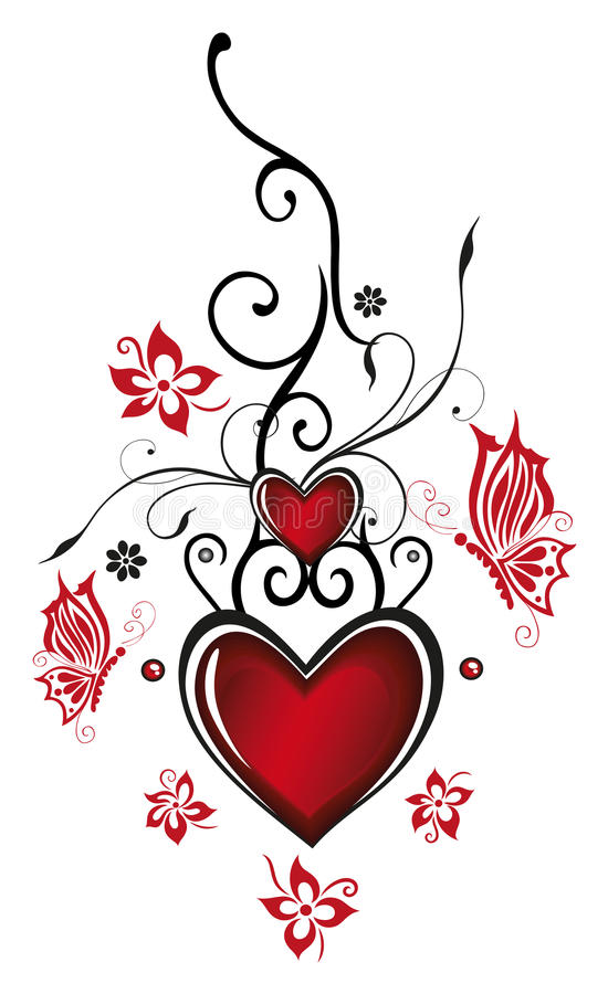 Hearts with flowers. Valentines day decoration, Hearts with flowers and butterflies royalty free illustration