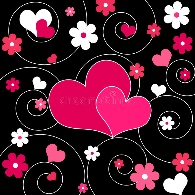 Hearts and flowers - Vector. Funky pink hearts and flowers design royalty free illustration