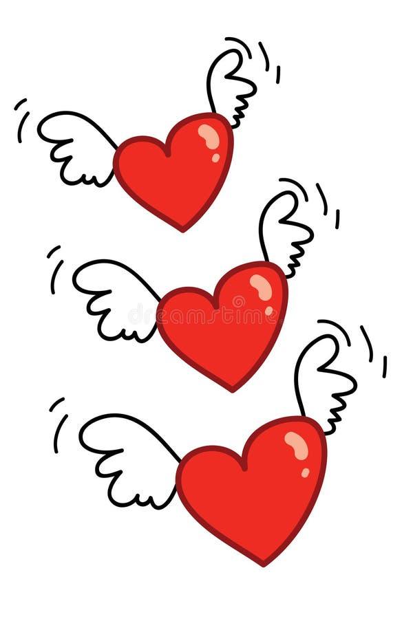 Hearts flying 01 vector illustration
