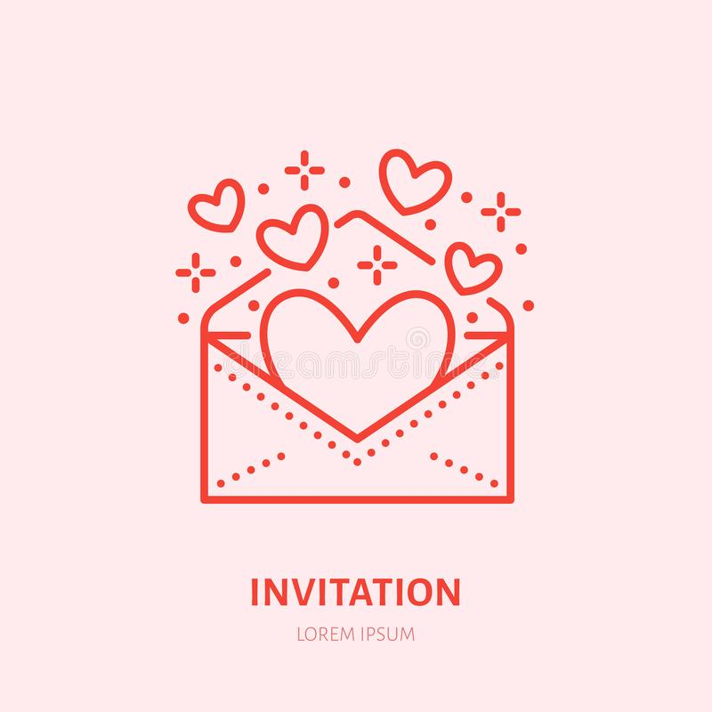 Hearts Flying From Envelope Illustration. Party Invitation Flat Line ...