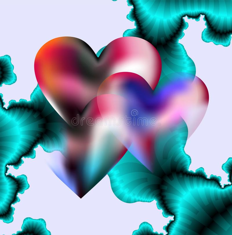 Hearts and fractals. Hearts and blue fractals in lots of transparencies as combined background for Valentine's supports royalty free illustration