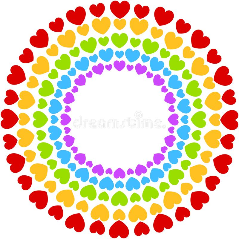 Hearts Frame Party Colorful Rainbow vector illustration
