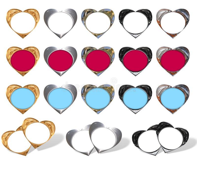 Hearts - frame stylish. Set of stylish hearts - frame (gold, chrome, glaze stock illustration