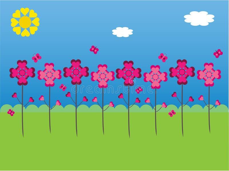 Hearts garden. A garden of flowers and butterflies made of hearts vector illustration