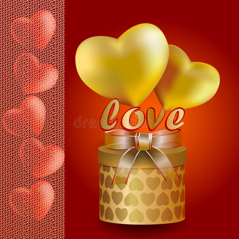 Hearts of gold and red with transparent ribbon stock images