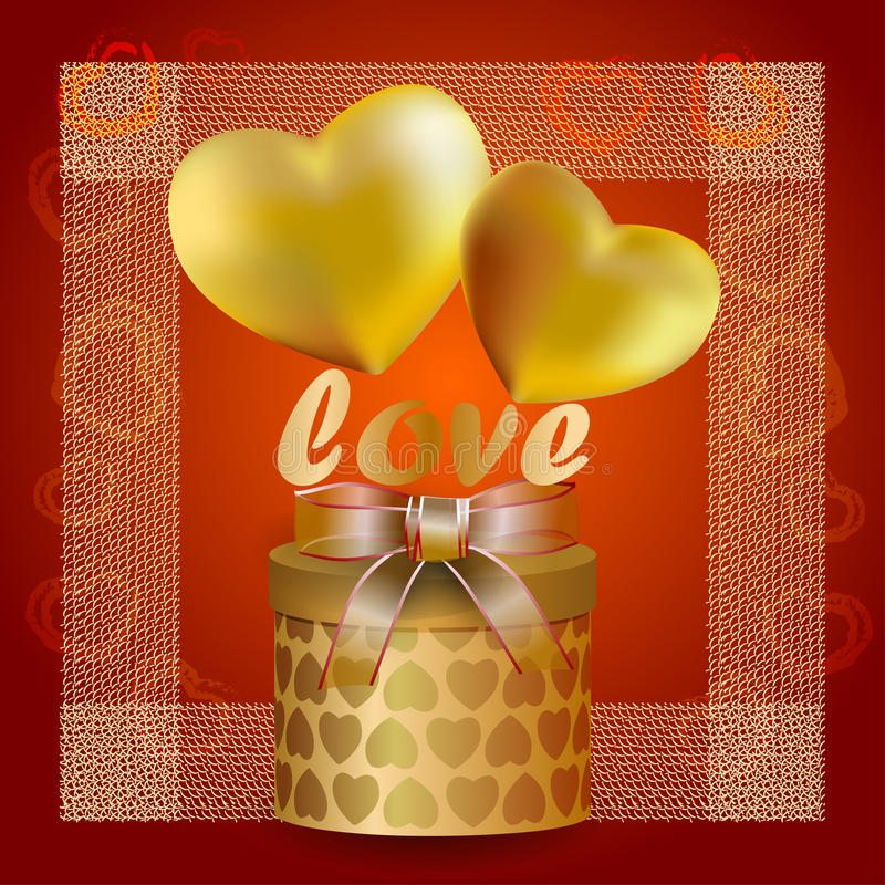 Hearts of gold with transparent ribbon stock illustration