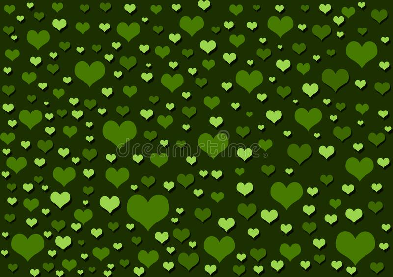 Hearts green background wallpaper design. Hearts green background wallpaper for use with design layouts or content creation stock illustration