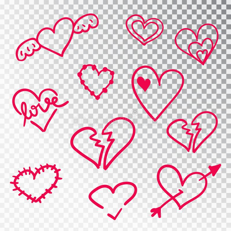 Hearts hand drawn set isolated. Design elements for Valentine s day. Collection of doodle sketch hearts hand drawn with royalty free illustration
