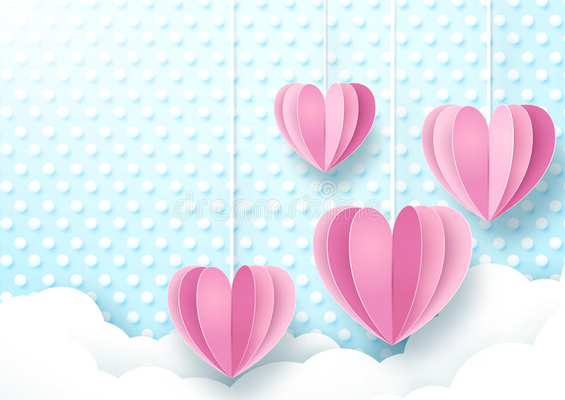Hearts hanging on cute soft blue and white dot background. royalty free illustration