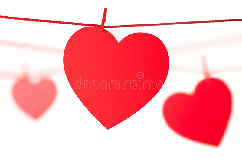 Hearts hanging on rope royalty free stock photo
