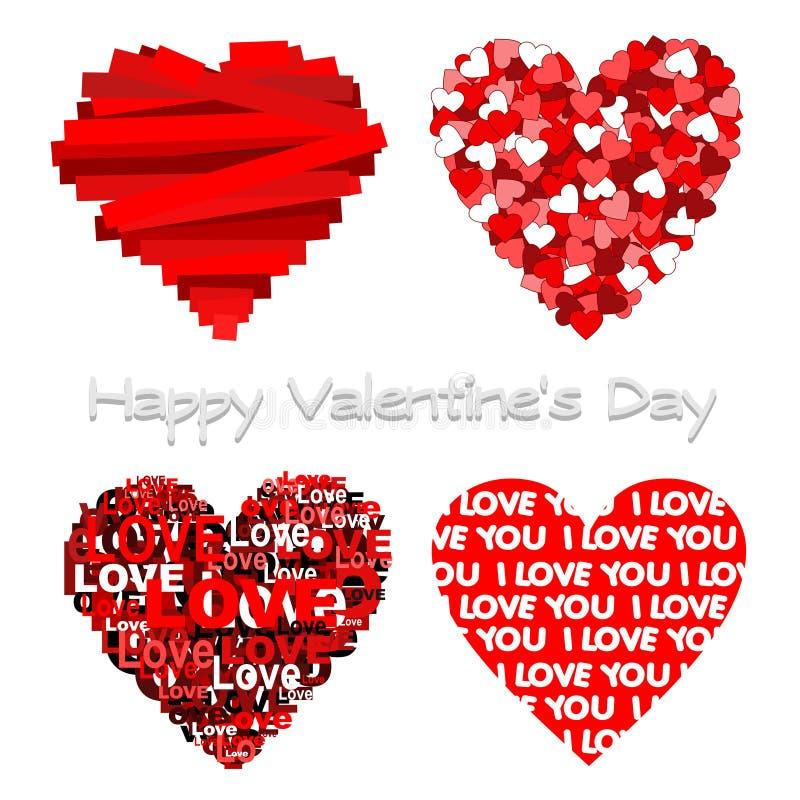 Hearts. Happy lovely valentine. 4 other hearts stock illustration