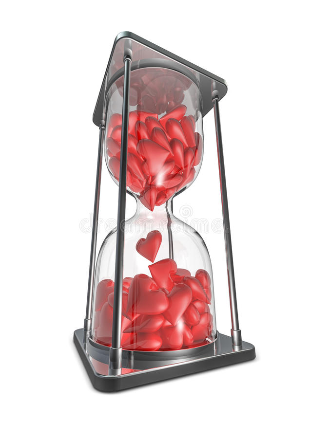 Download Hearts hourglass stock illustration. Image of deadline - 28923944