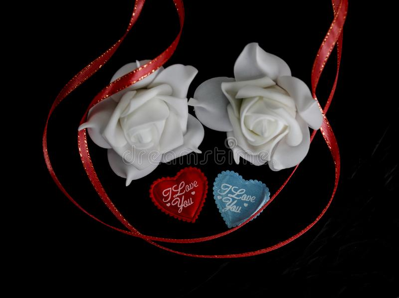 hearts I love you to the day of the Valentine on a black background next to a white rose in blur and red ribbon stock images