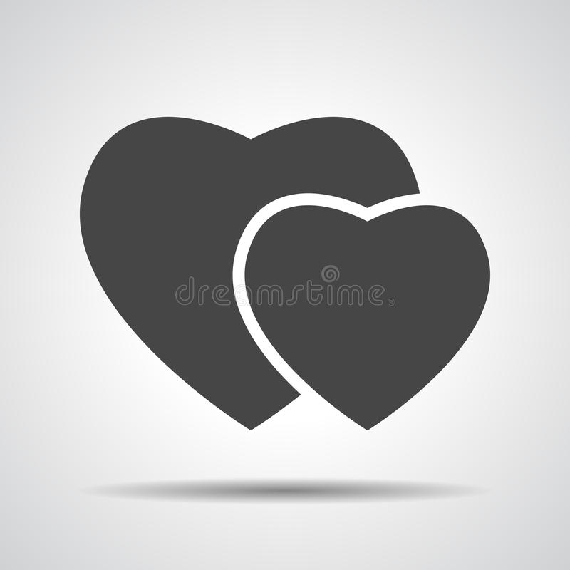 Hearts icon. Grey hearts icon, vector illustration royalty free illustration