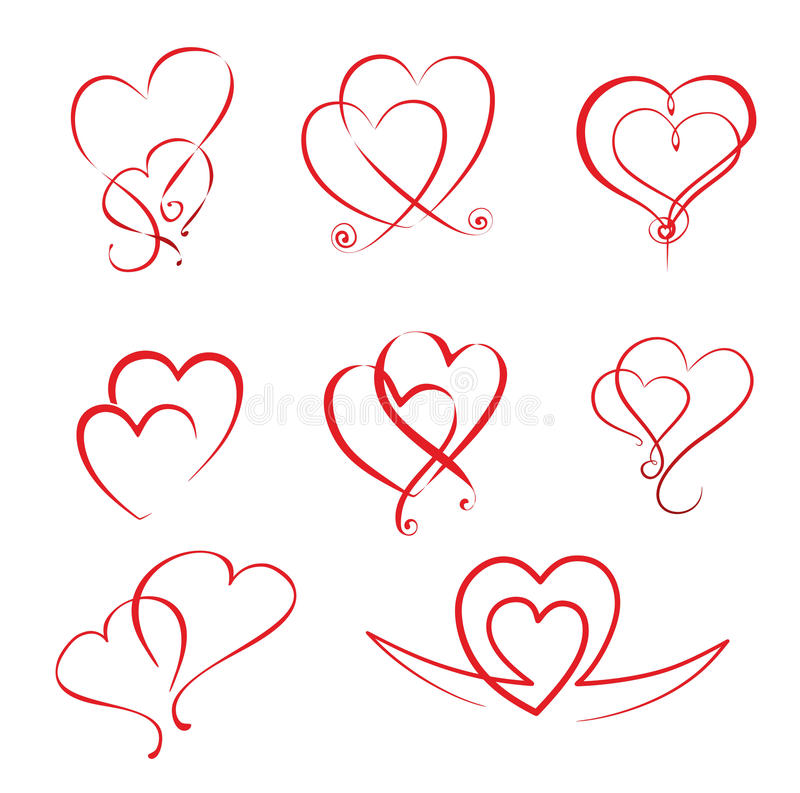 Hearts. Illustration of different simple hearts and heart ornaments vector illustration