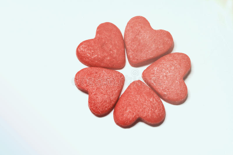 Hearts isolated on white stock photography