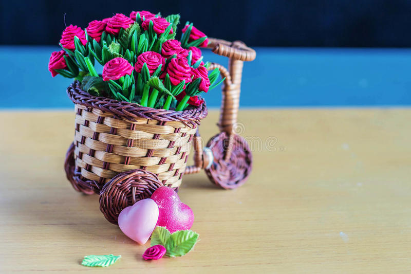 Hearts laid a flower pot on the wooden royalty free stock photo