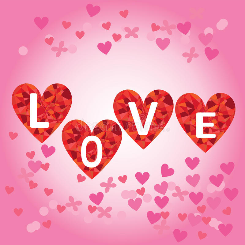 Hearts with letters LOVE. royalty free stock photography