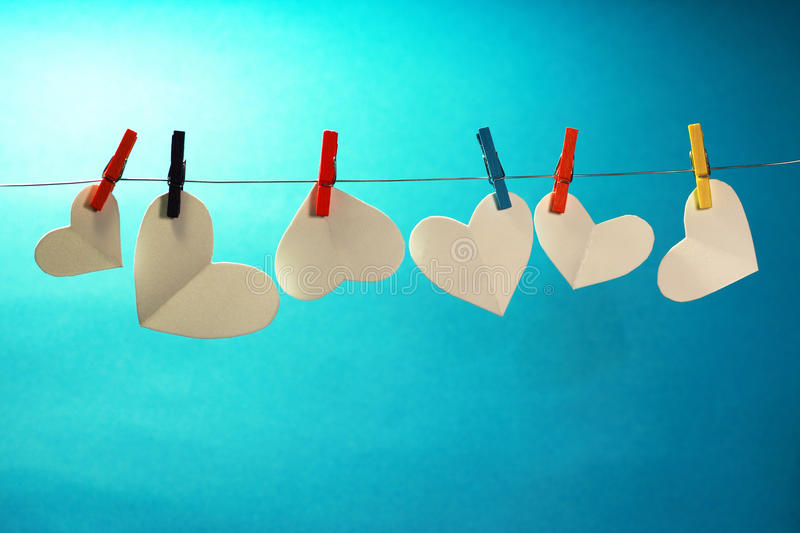 Hearts on the line royalty free stock images