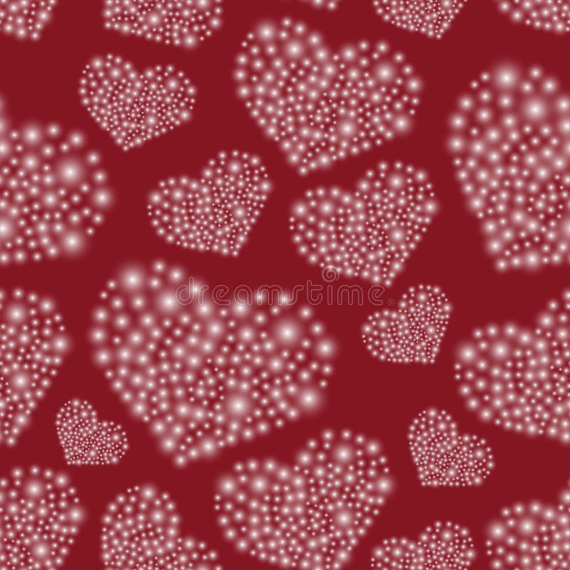 Hearts from little lights red seamless pattern royalty free illustration