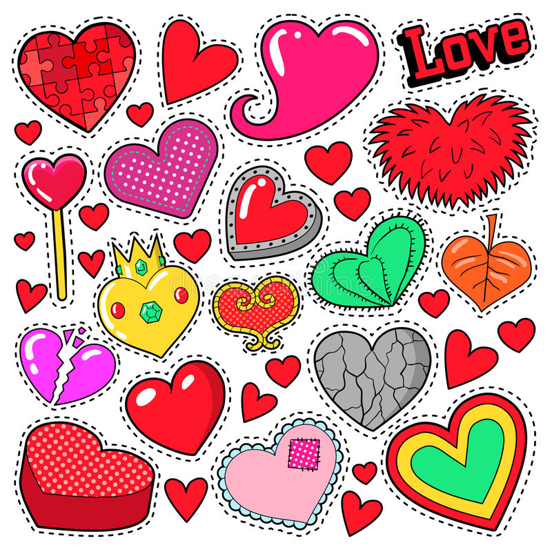 Download hearts love badges stickers patches stock vector illustration of girl doodle