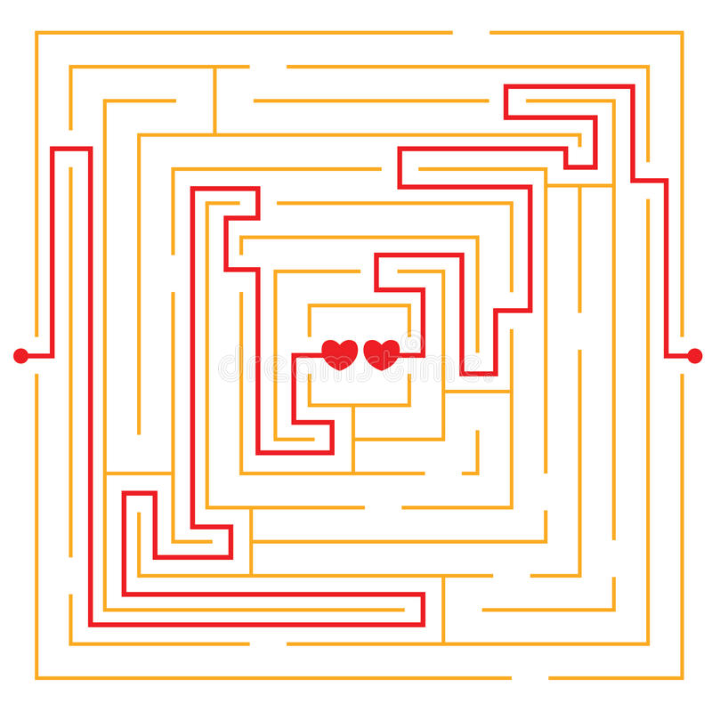 Download Hearts in love labyrinth stock vector. Image of abstract - 17976833
