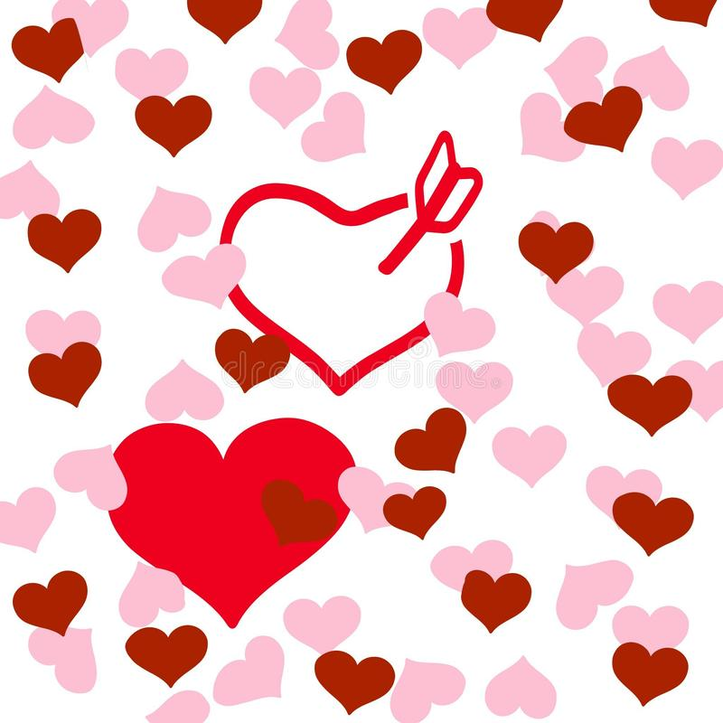 Hearts and Love. Red and pink hearts on white background stock illustration