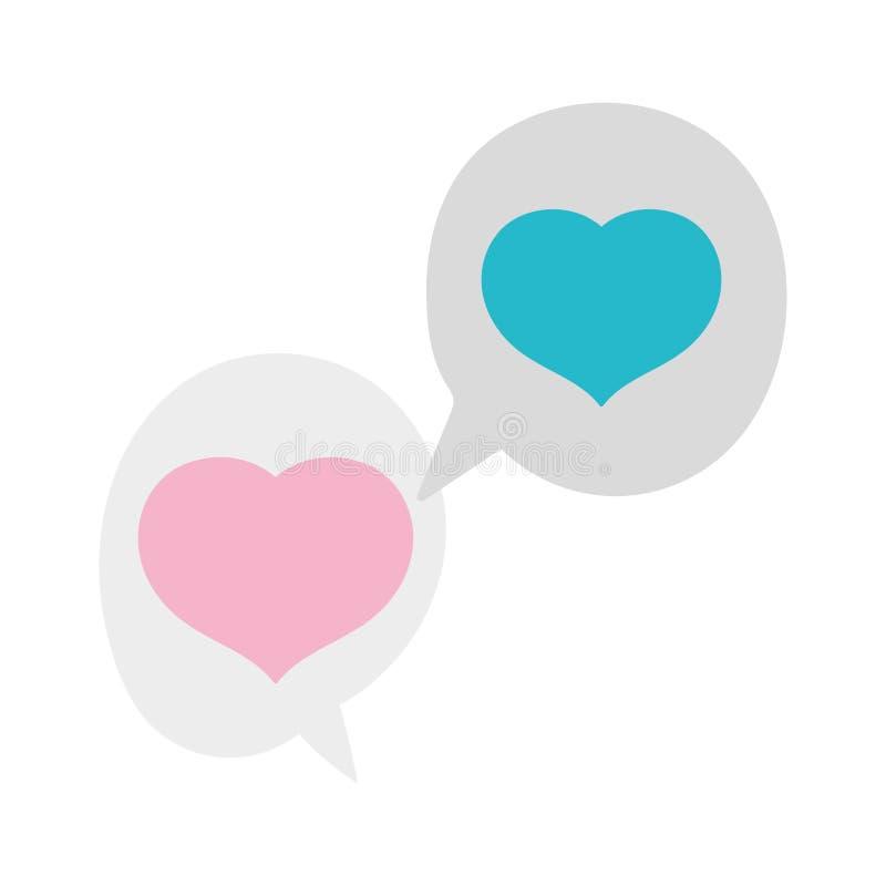 Hearts love romantic speech bubbles design vector illustration