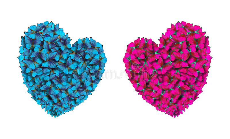 Hearts of lovers made of bright butterflies. St. Valentine`s Day. Hearts of lovers made of bright butterflies. St. Valentine`s Day blue pink royalty free stock photography