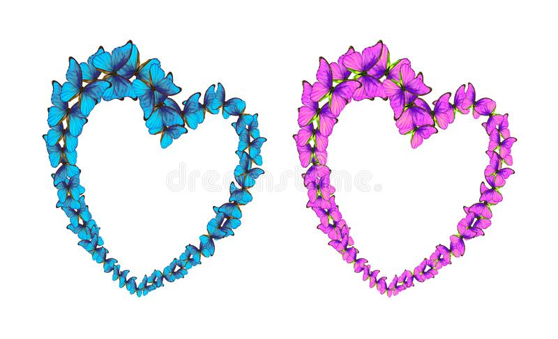 Hearts of lovers made of bright butterflies. St. Valentine`s Day. Blue pink stock photography