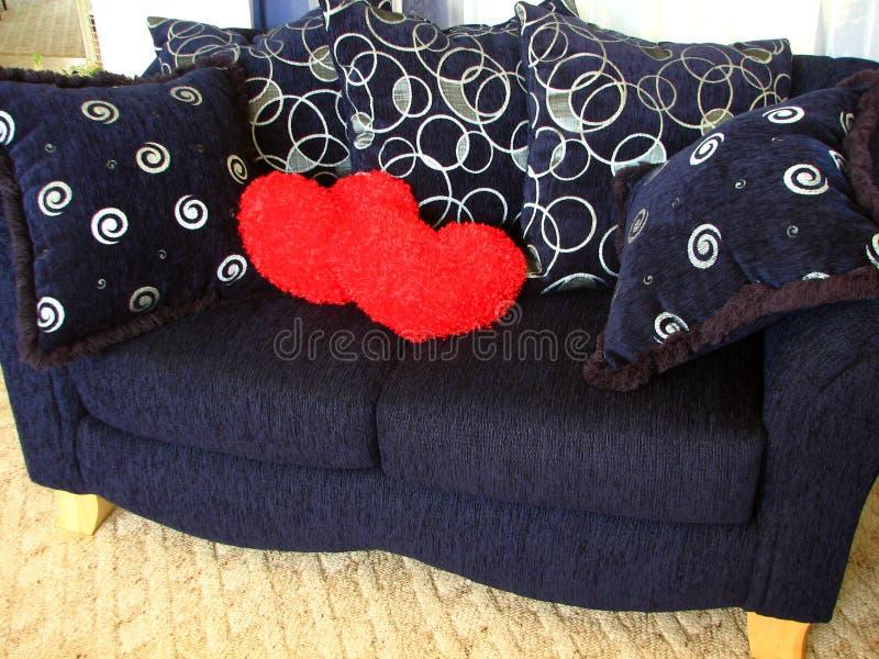 Hearts On Loveseat Stock Photos
