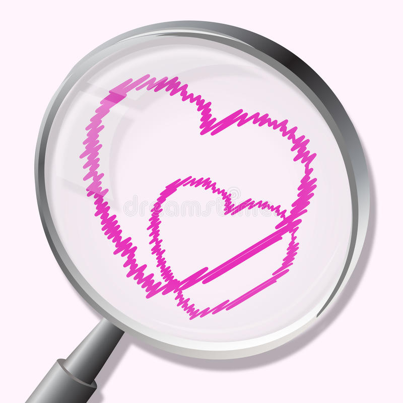 Hearts Magnifier Indicates In Love And Lovers royalty free illustration
