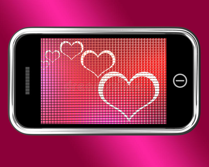 Hearts On Mobile Phone Shows Love And Online Dating royalty free illustration