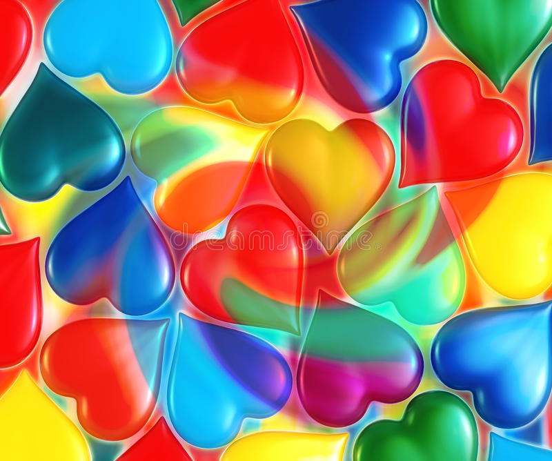 Hearts. Multi-colored hearts, scattered around royalty free illustration