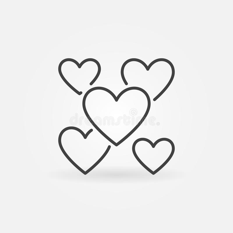 Hearts outline icon. Vector Valentine`s Day and Love symbol royalty free illustration