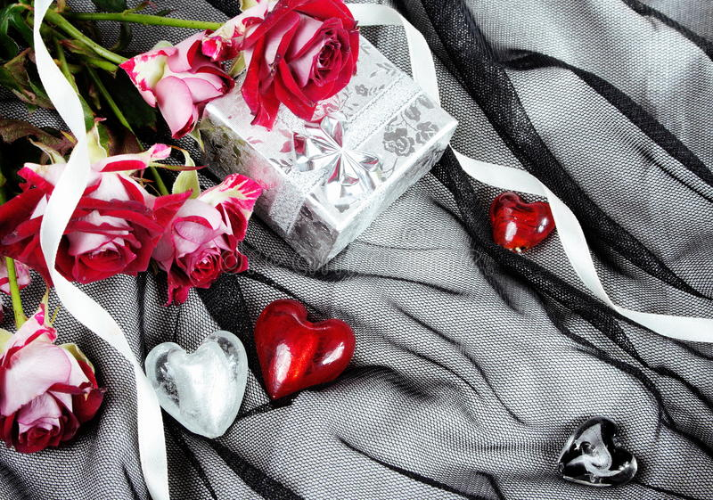 Download Hearts Over Textile Stylish Valentine Still Life Stock Photo - Image: 22909942
