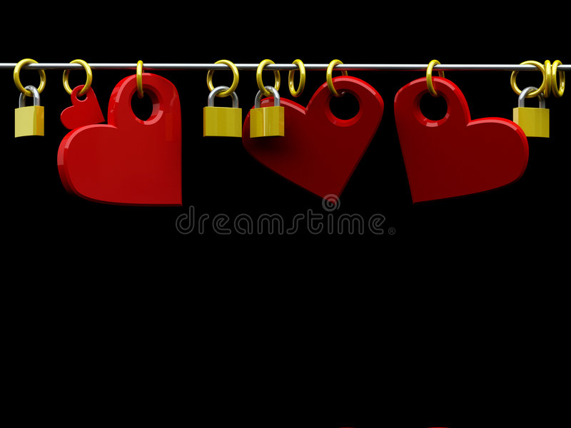 Hearts And Padlocks Stock Images