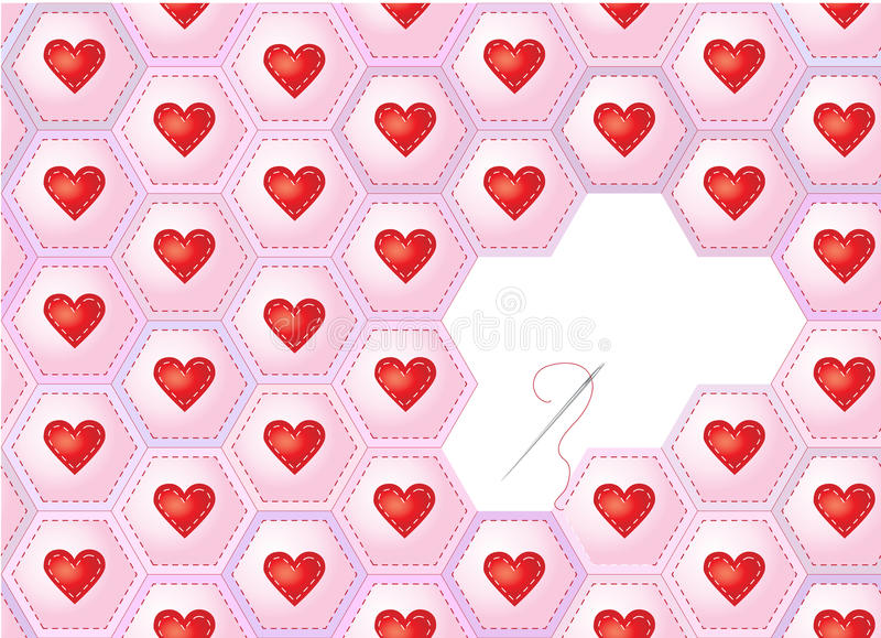 Download Hearts patchwork stock vector. Image of needle, design - 17836821
