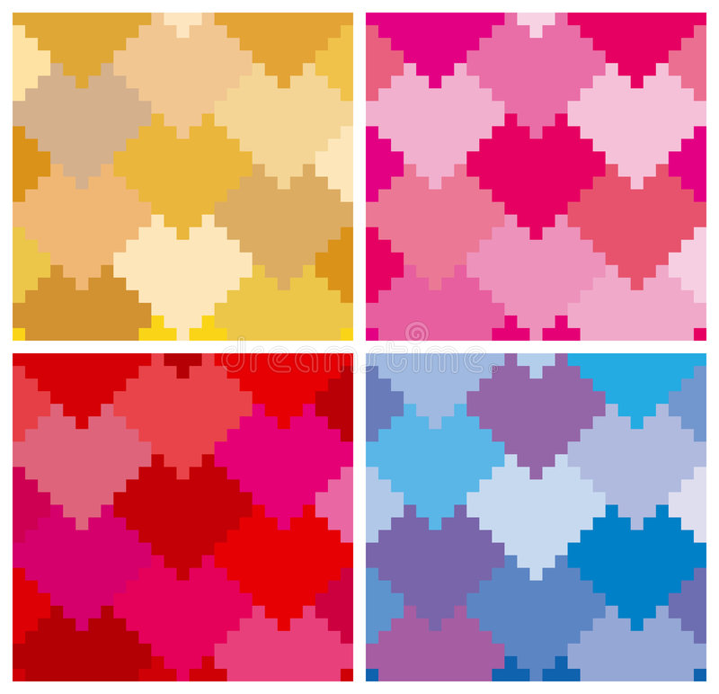Download Hearts Pattern In 4 Variation Royalty Free Stock Image - Image: 4006746