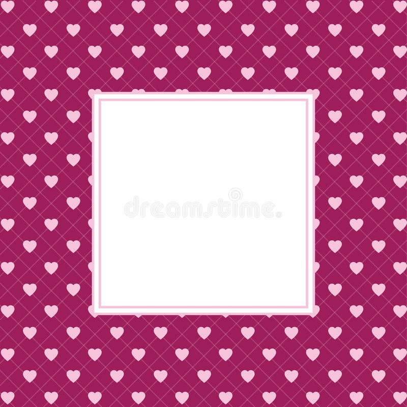 Hearts pattern background with frame in the shape of square for text. Valentine`s day and Mother`s day greeting card - label. Blank space in the space of square royalty free stock photography