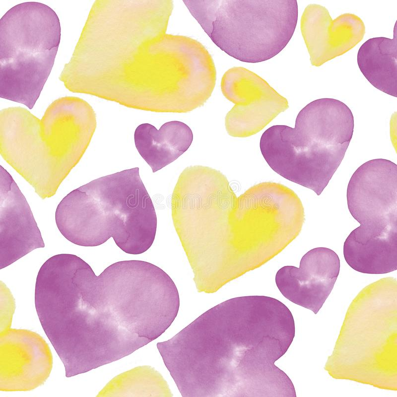 Hearts pattern. Seamless watercolor background. Hand drawn hearts on white backdrop.  royalty free illustration