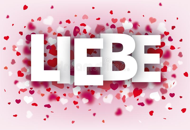 Hearts Pink Background Liebe. German text Liebe, translate Love stock illustration