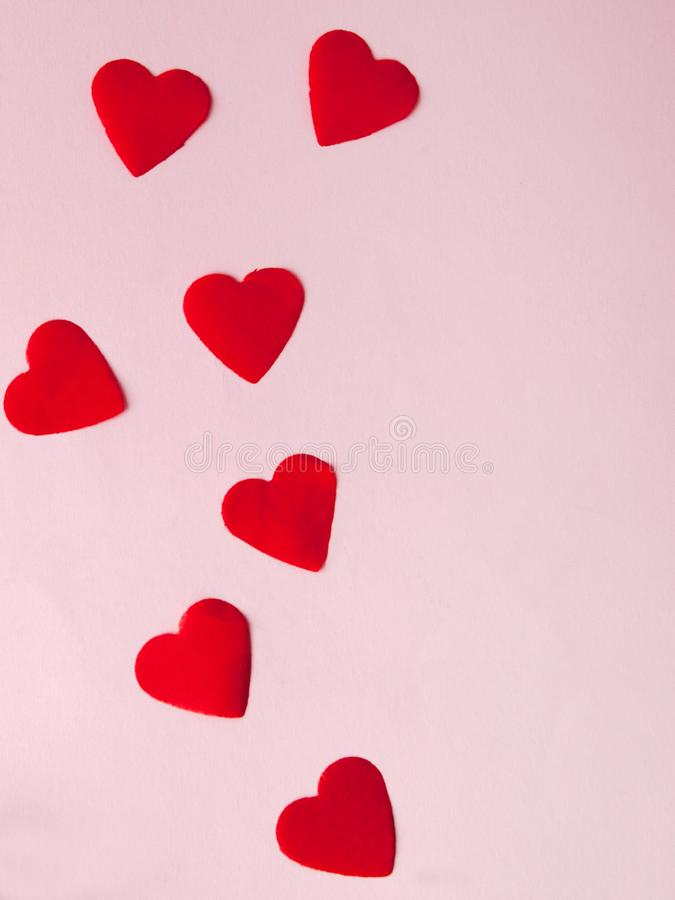 Hearts on pink backgrounds. Festive concept for Valentine`s day, Mother`s day or birthday stock photos