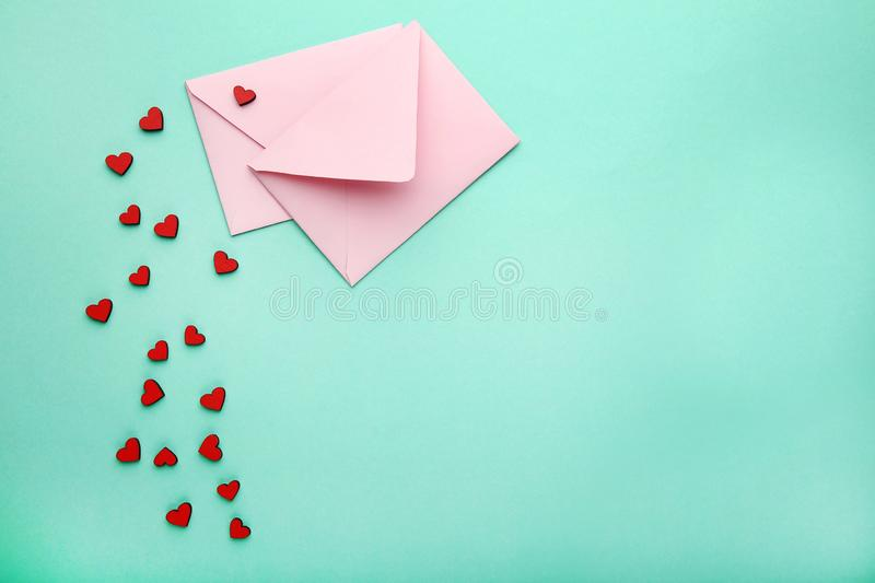 Hearts with pink envelopes stock photo