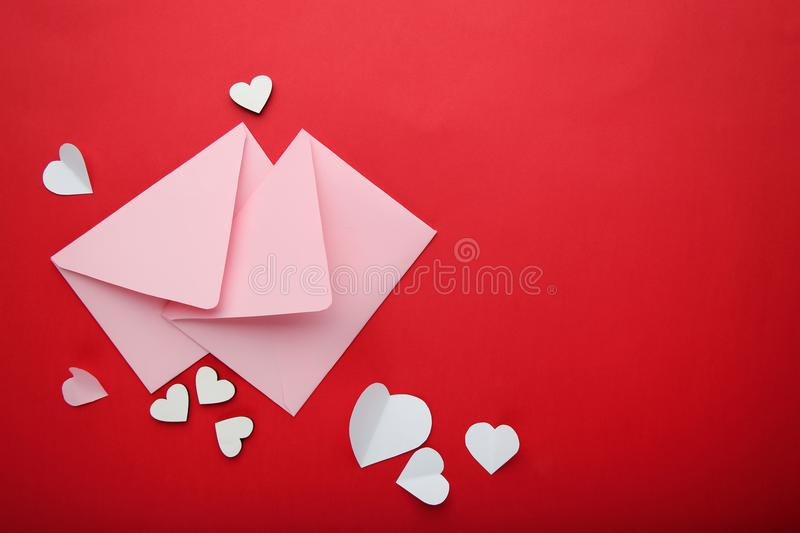 Hearts with pink envelopes royalty free stock photography