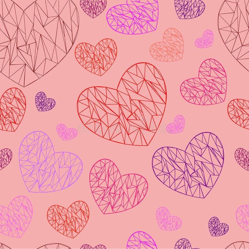 Hearts polygon pattern. Pink background. Hearts polygon pattern. Red, pink and purple hearts on a pink background for a romantic design. For design on Valentine` royalty free illustration