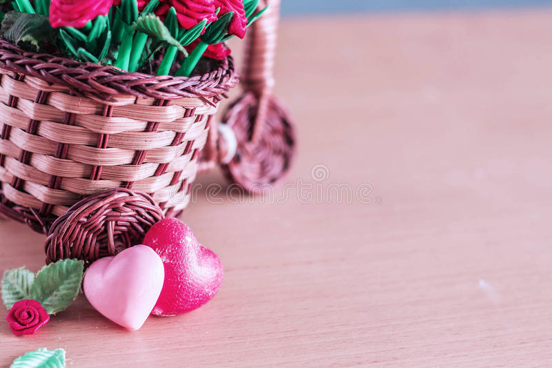 Hearts and pot on the wooden stock images