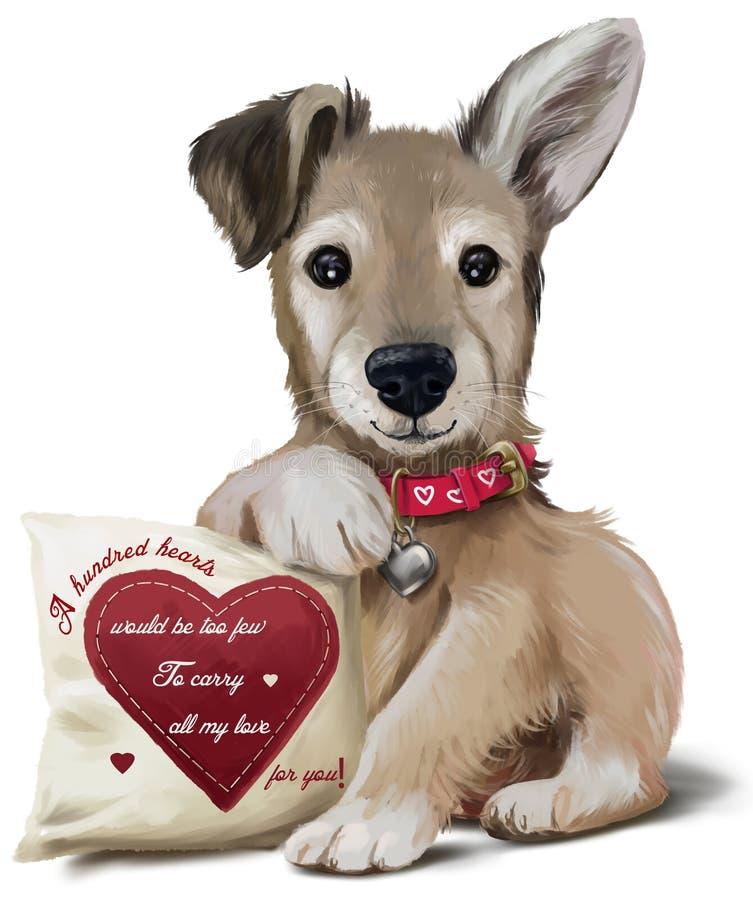 100 hearts puppy vector illustration